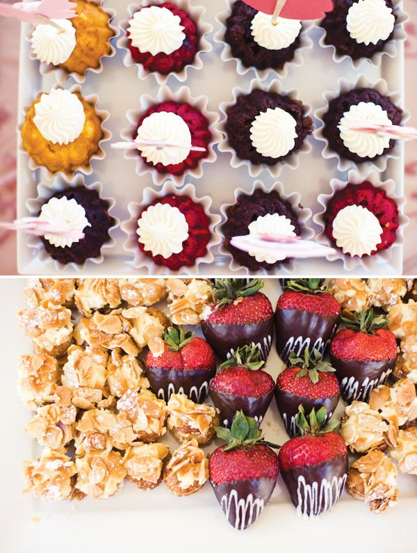 mini bundt cakes and chocolate covered strawberries