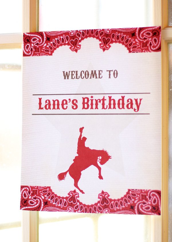 cowboy party with a bandana pattern welcome sign