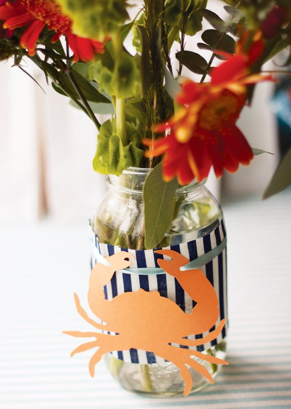 Striped nautical crab centerpiece
