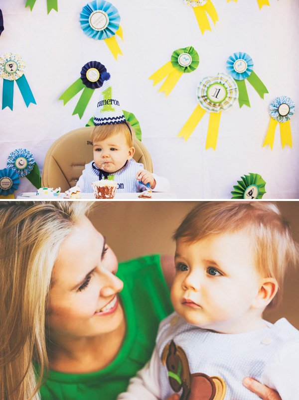 ribbon backdrop for a dapper derby first birthday party