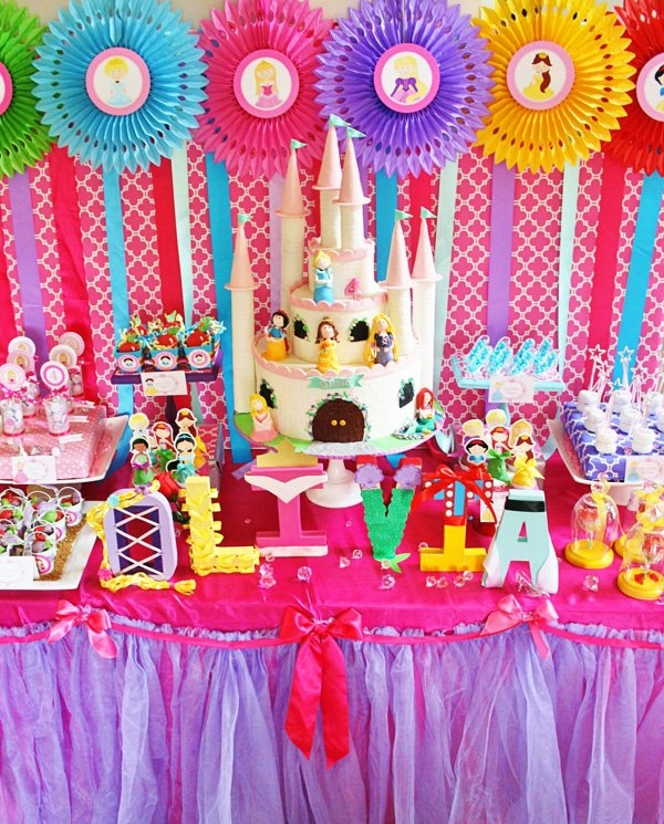 disney princess party dessert table