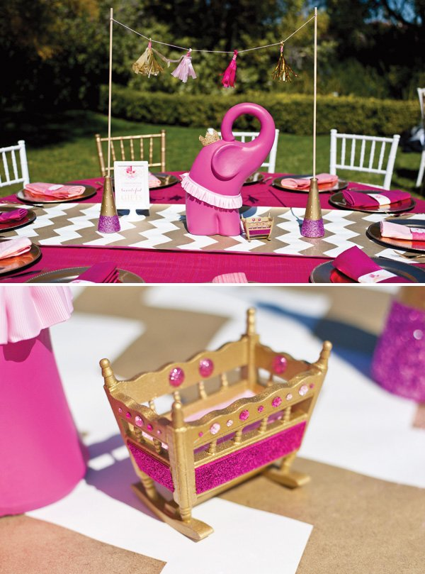 Pink glitter gold royal baby shower recap part