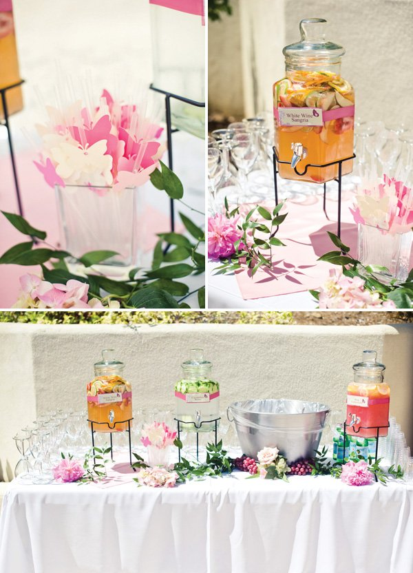 drink station with butterfly straws