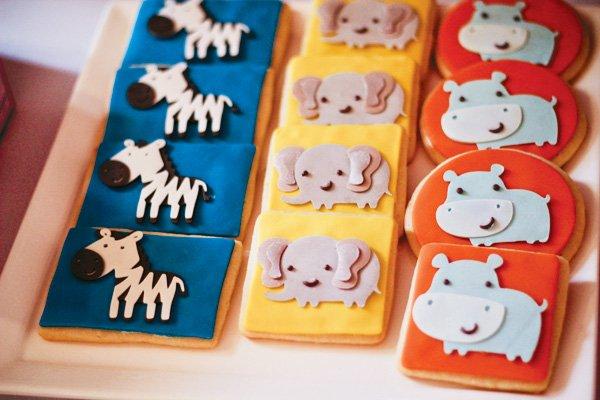elephant and zebra cookies