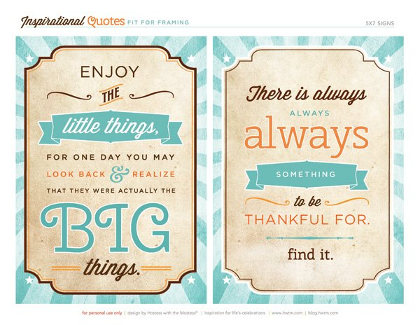 enjoy the little things & be thankful quotes - free printables