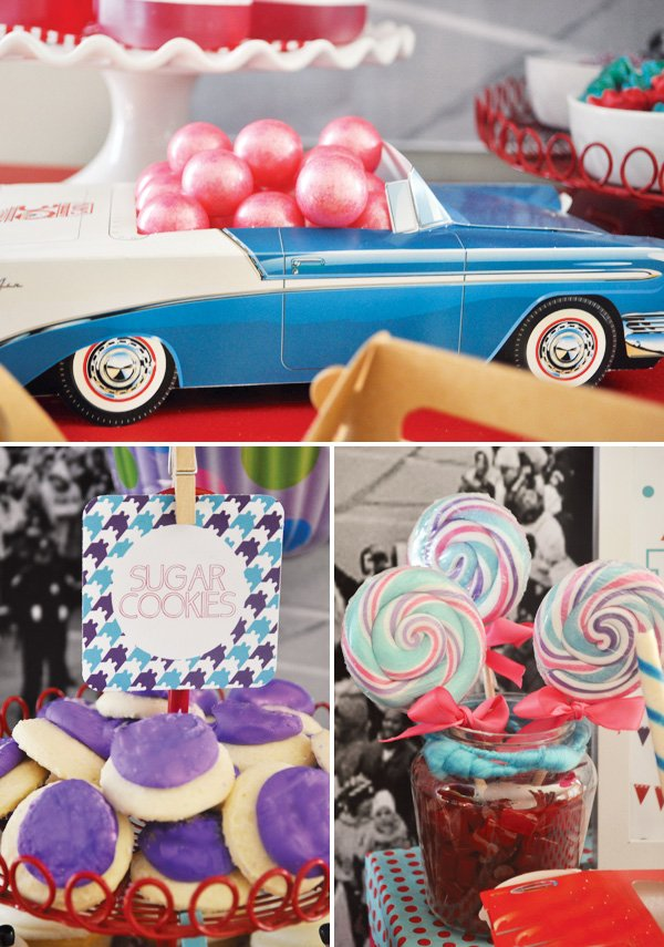 girly party with pink gumballs and lollipops