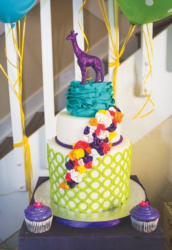 glitter purple giraffe cake topper