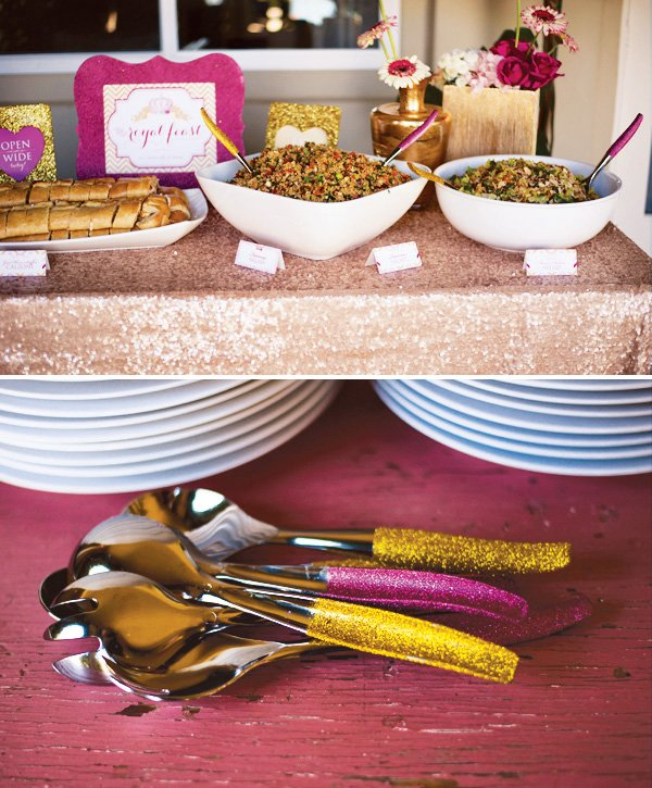 glitter tablecloth and utensils for a royal baby shower