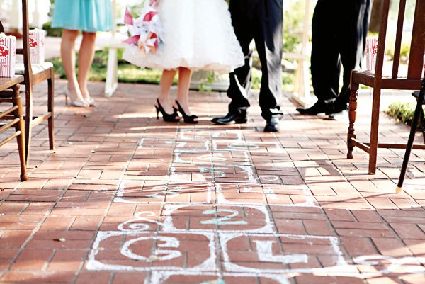 Hopscotch wedding aisle