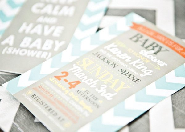 chevron baby shower invitation