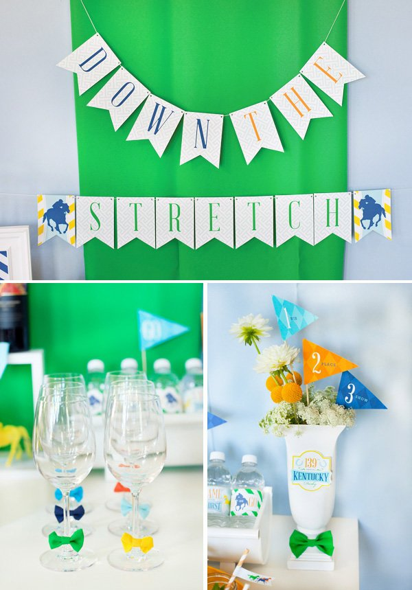Kentucky Derby party decorations and banner