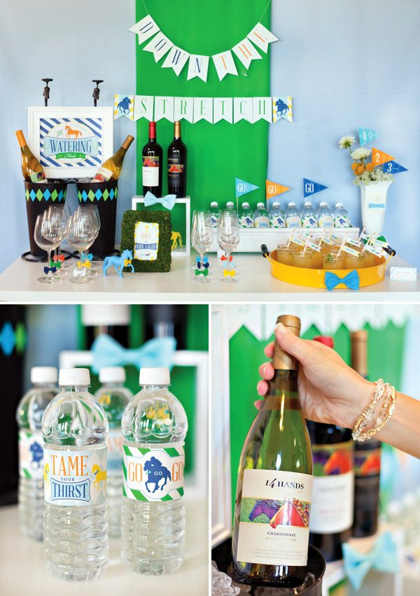 Kentucky Derby Party drink station - wine glasses & cocktails