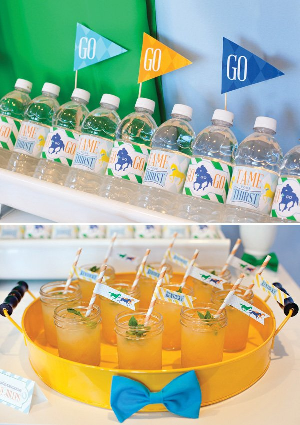 kentucky derby water bottles and orange mint juleps