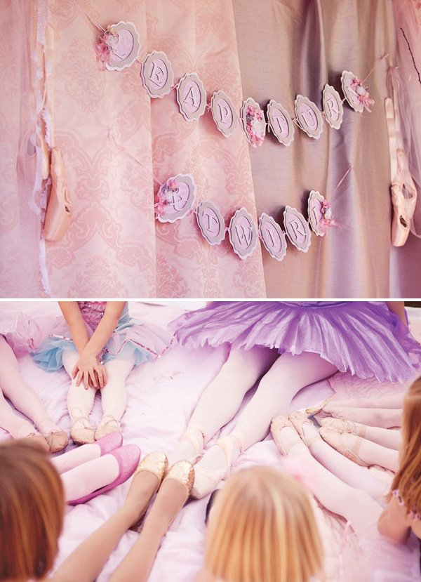 leap turn and twirl ballerina party banner