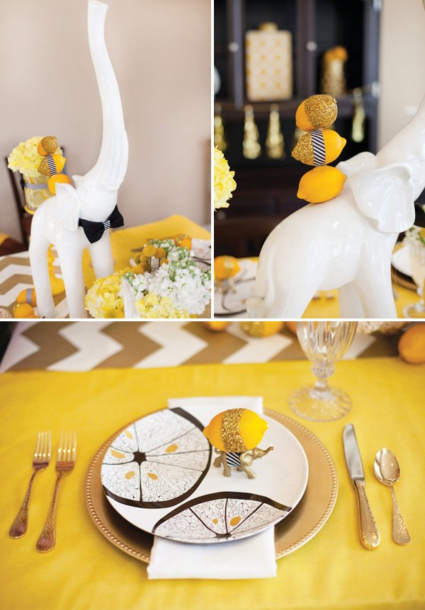 elephant centerpiece and placecard