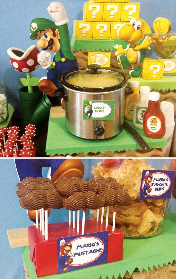 mario and luigi dessert table