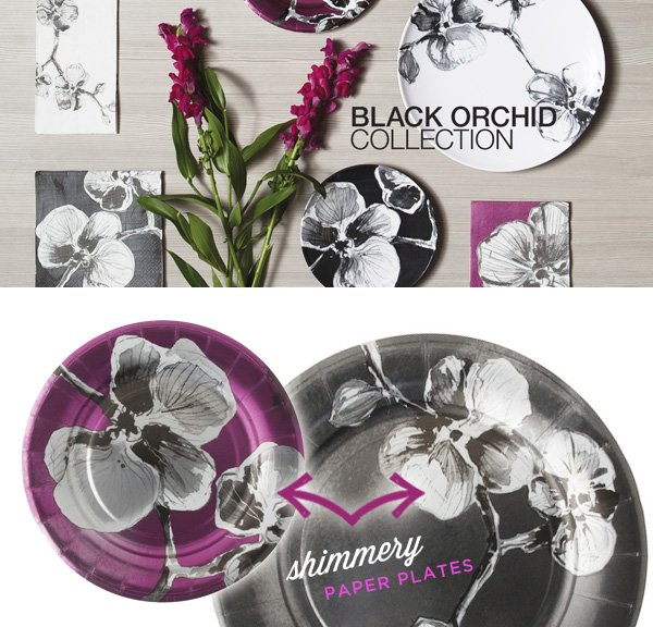 madhouse black orchid paper plates