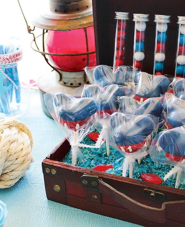 Blue and red Mickey Mouse cake pops
