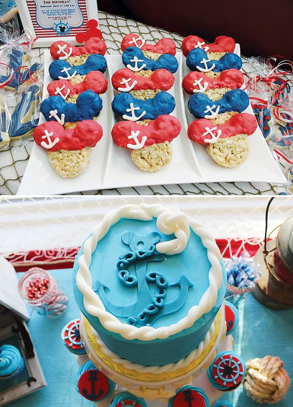 Nautical birthday cake with mickey mouse rice krispie treats