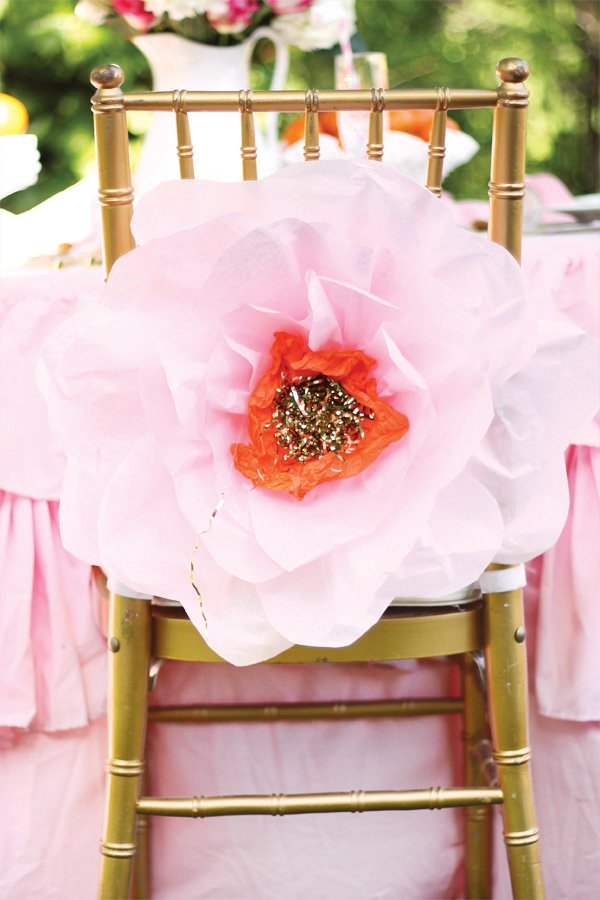 paper flower chair back
