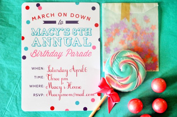 parade party invitation