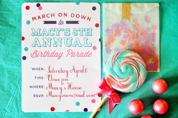 parade party invitation