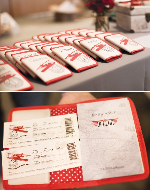 passports for a vintage airplane party
