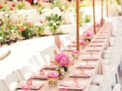 pink backyard bridal shower tablescape