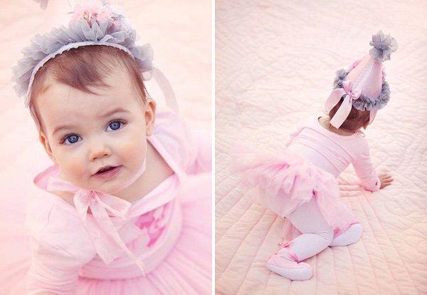 pink first birthday girl
