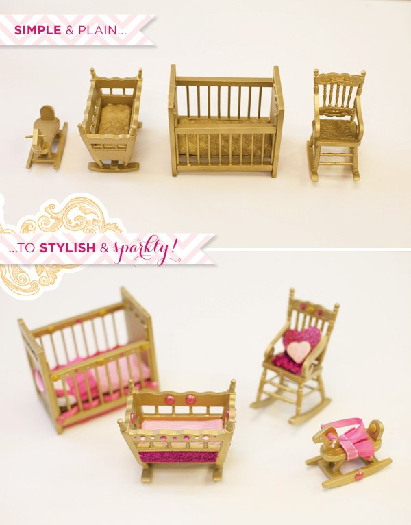 pink and gold doll furniture diy