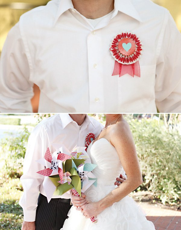 Pinwheel bouquet and rosette boutonniere