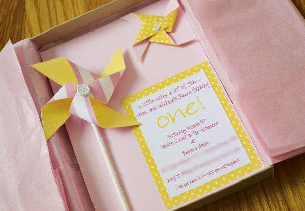 pinwheel and polka dot first birthday party invitation