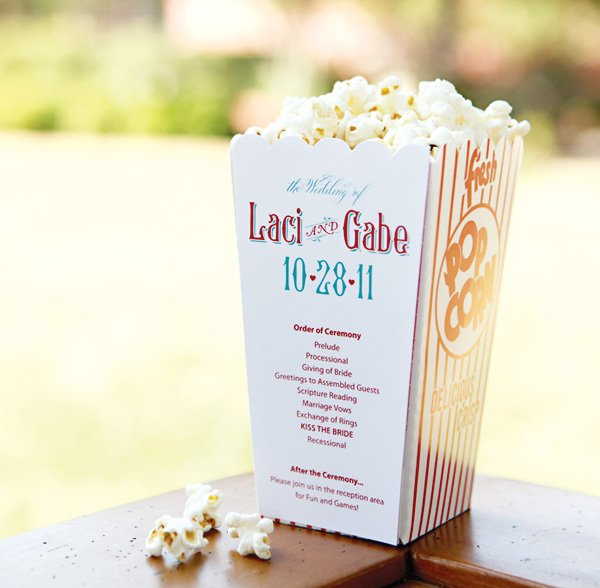 Popcorn wedding program