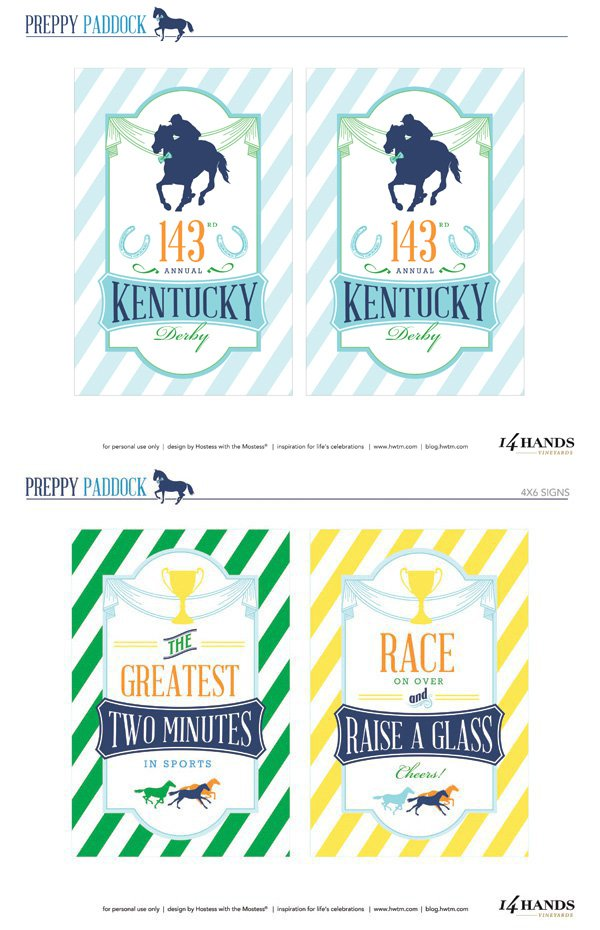 Kentucky Derby Preppy Party Printables