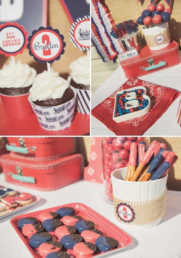 Red and Blue Dessert Table