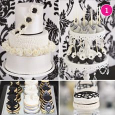 romantic black and white dessert table