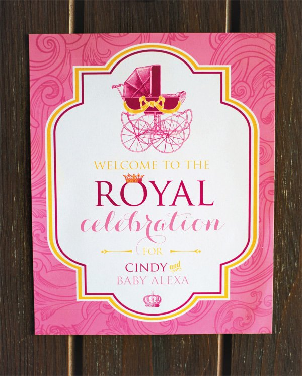 royal baby shower welcome sign