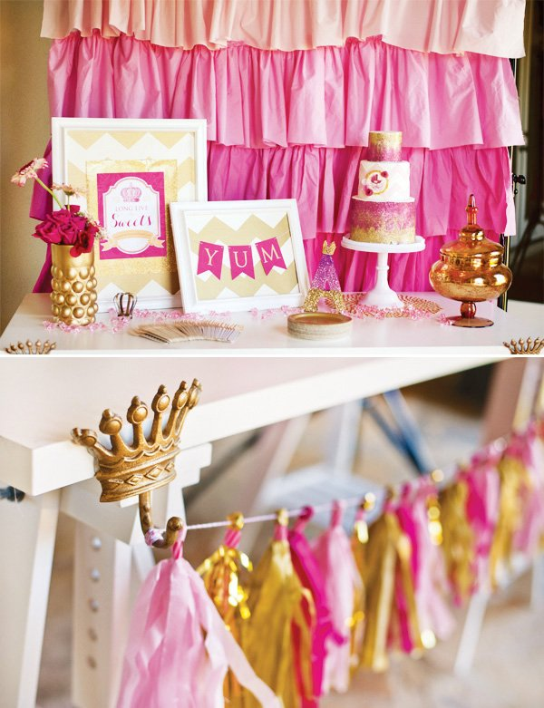 royal pink and gold princess dessert table