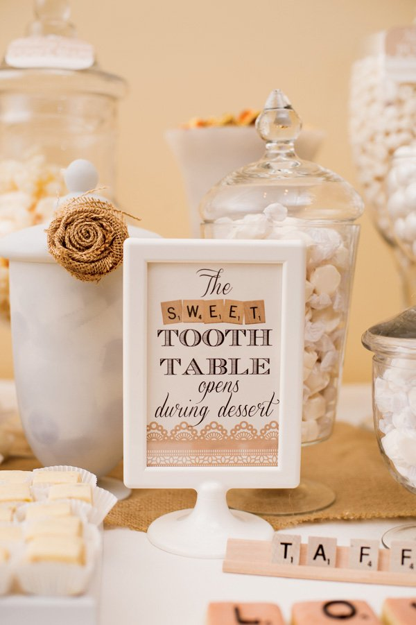 scrabble dessert table sign