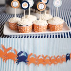 Nautical Baby Shower with crab silhouette banner