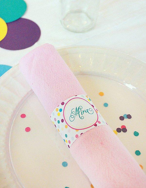sprinkle party napkin rings
