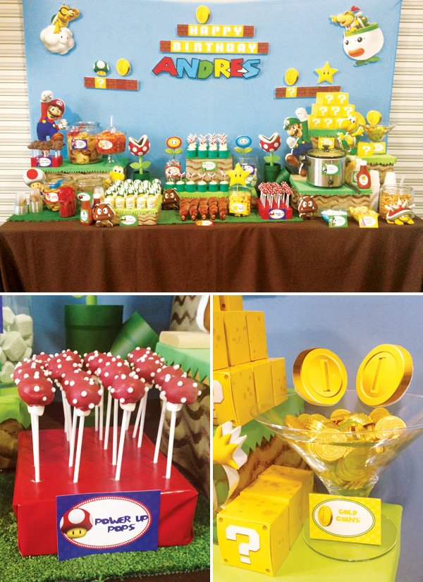 super mario bros dessert table