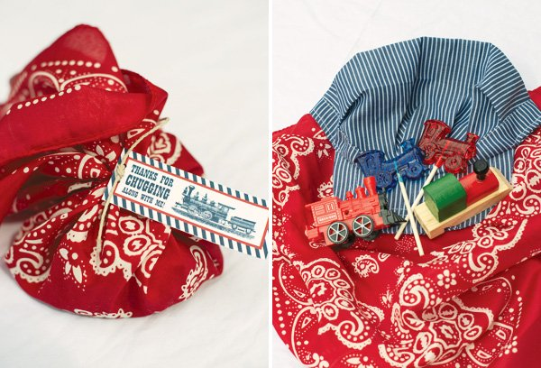 Bandana and Conductor Cap Party Favors
