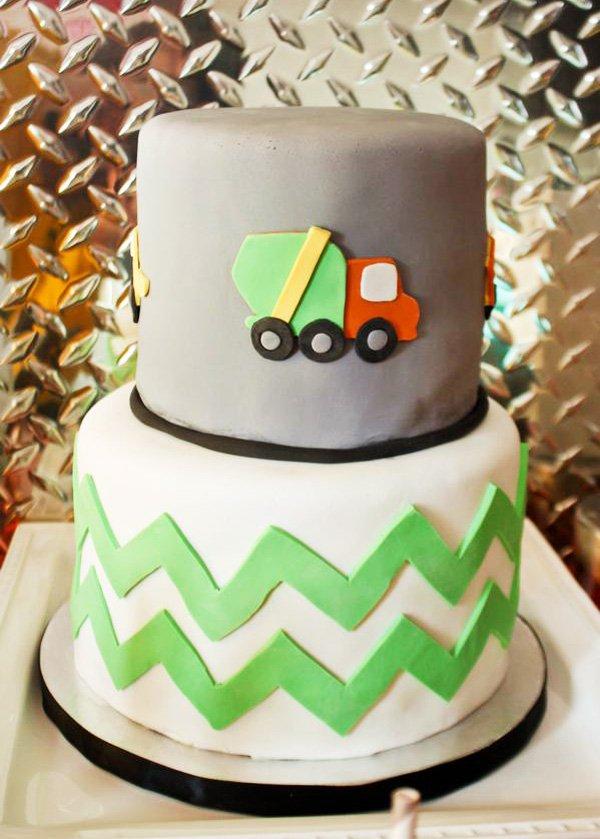 truck cake with green chevron