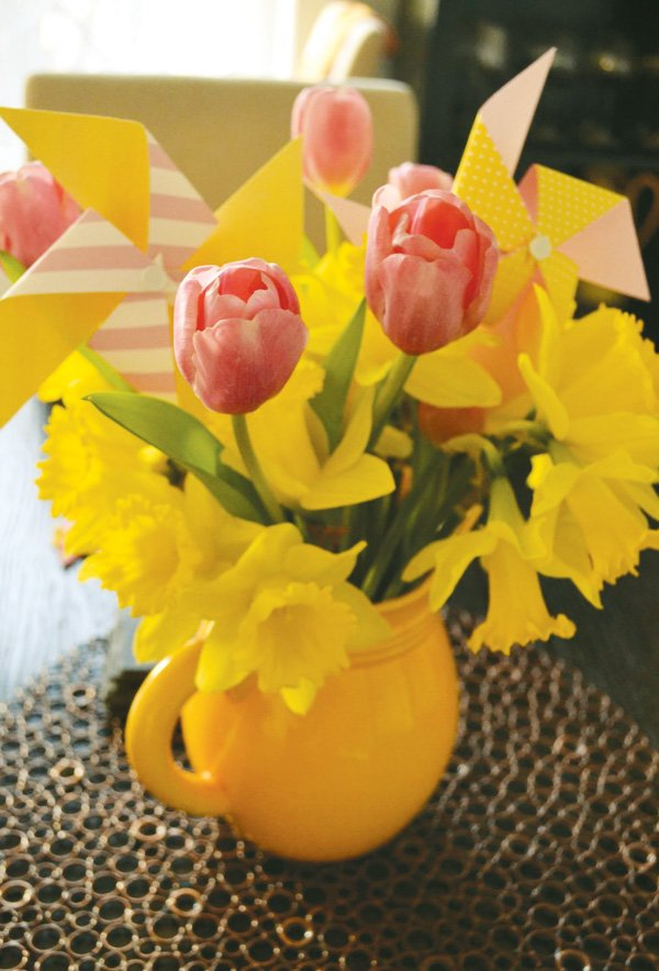 tulips and pinwheels centerpiece