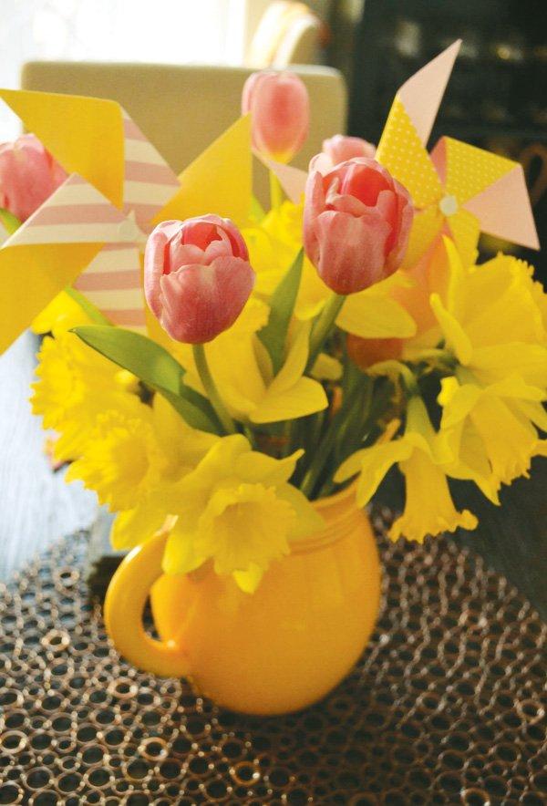 tulips and pinwheels centerpiece