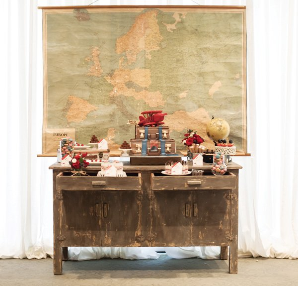 vintage travel dessert table