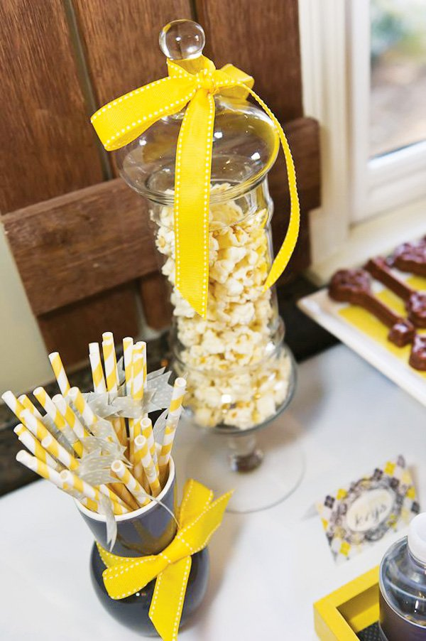 yellow and grey dessert table
