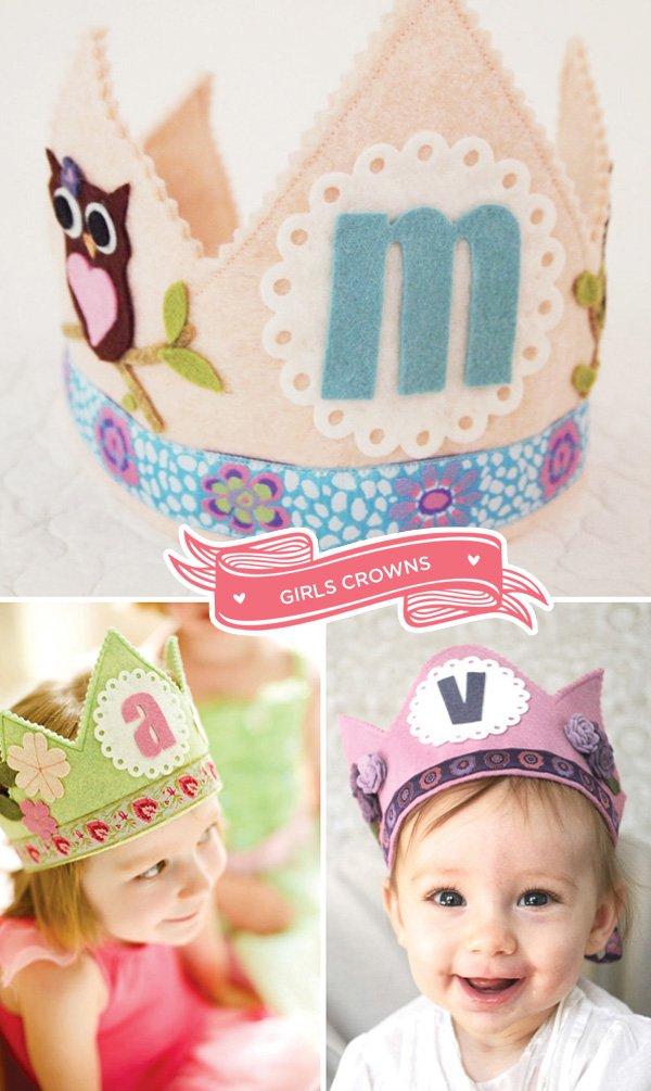 girls felt crowns from mosey handmade
