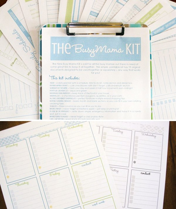 mom organization printables